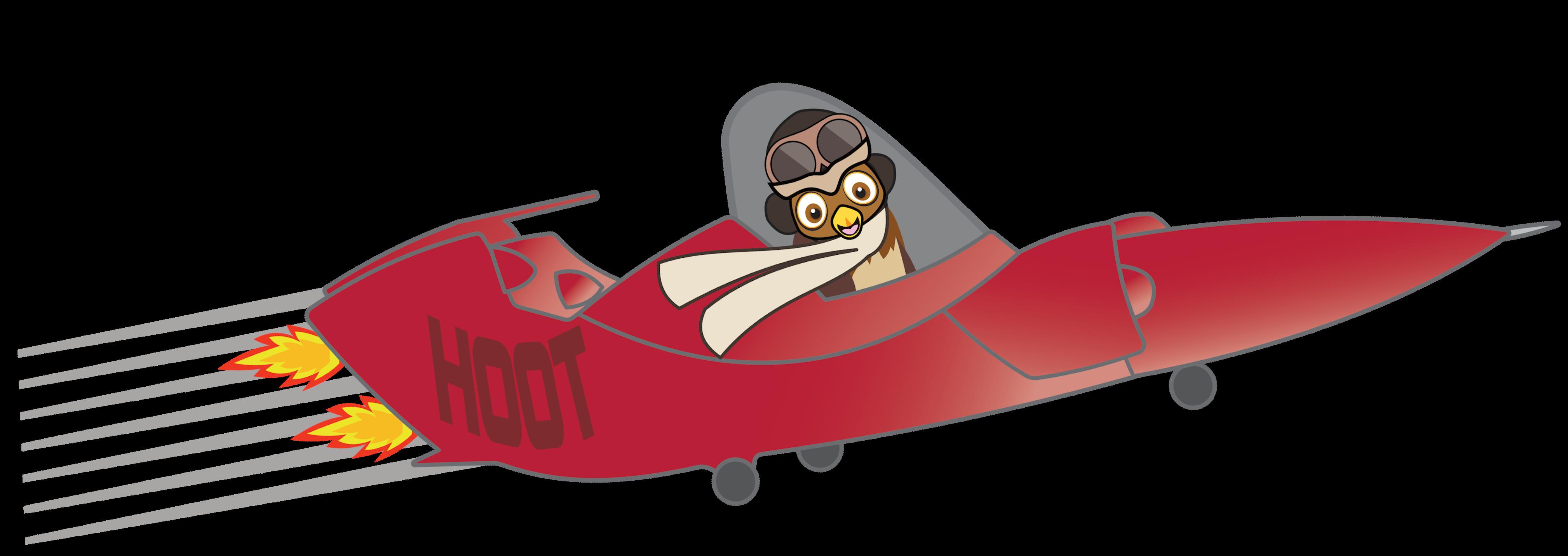 Owl in a flying car